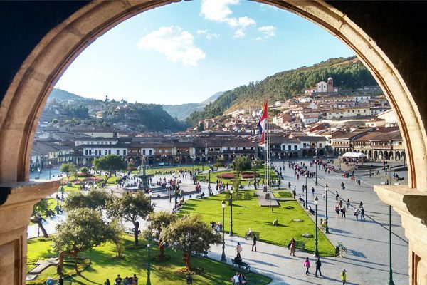 Vacaciones en la plaza de Armas de Cusco
